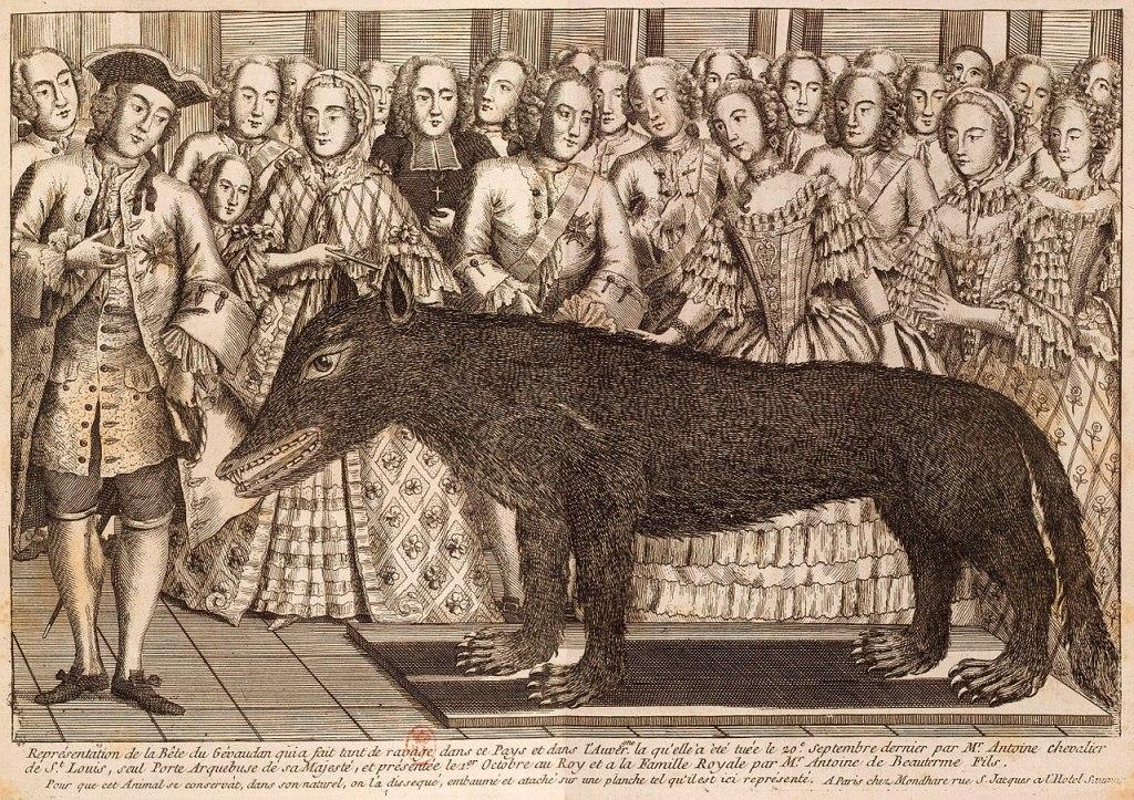 Gravure de la présentation du loup tué par Antoine à Versailles